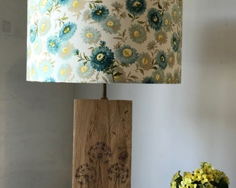 Cream & Teal Floral 'Daisies' Lampshade- vintage style