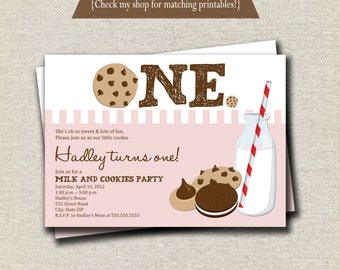 Milk and Cookies Invitation | Milk & Cookies Invite - pink and white | digital printable