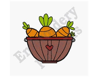 Basket Of Carrots - Machine Embroidery Design