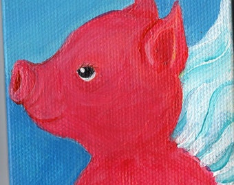 Flying Pig Original mini canvas art, easel, acrylic painting canvas art, when pigs fly, whimsical flying pig art