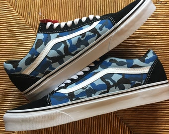 Blue Camo (Bape) Painted Vans