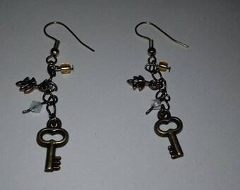 Earrings dangle fancy color bronze