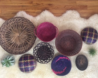 Vintage wall basket set, basket wall, boho decor, wall hanging baskets, basket wall decor, colorful wall decor