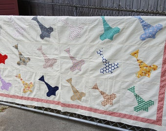RARE Vintage Feedsack Quilt Top Airplane Pattern Hand and Machine Stitched