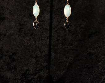 Fabulous opalite and smoky quartz drop earrings with vermeil bezel and 14-karate gold-filled wires