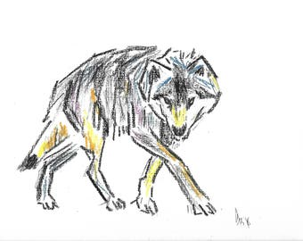 Pastel wolf print, wolf art
