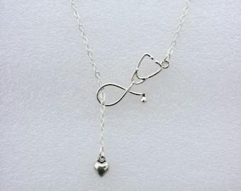Nurse Necklace-Lariat Necklace-Nurse Jewelry-Stethoscope Necklace-Heart Necklace-RN Necklace-Medical Jewelry-Physician Gift-Nurse Gift-RN-Id