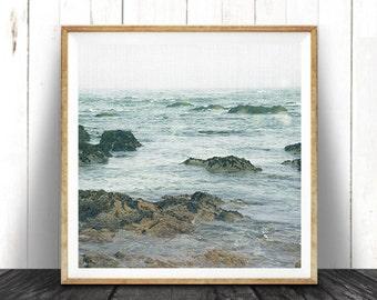 Beach House Art, Ocean Water Print, Coastal Beach Nautical Decor, Large Square Print, Blue, Beach House Decor, Printable