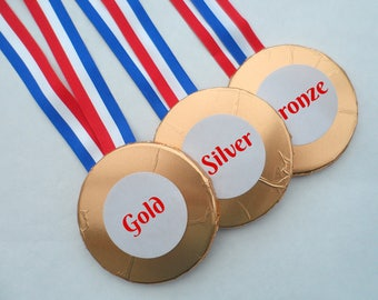 Chocolate Medals, School Sports Award, Achievement Gift, Bronze Silver Gold, Novelty Chocolate, Novelty Prize, Exam Congratulations Gift