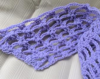 Lightweight Lavender Crochet Scarf