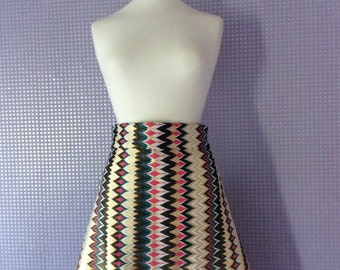 1970's inspired metallic A-line knee length couture skirt