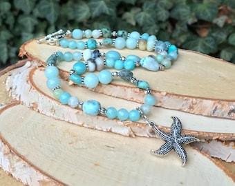 Starfish Necklace Larimar Jade Amazonite Turquoise Gemstone Necklace