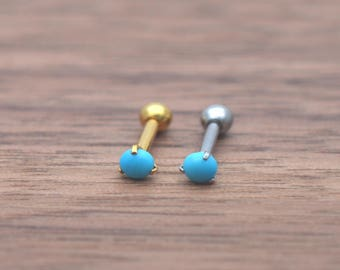 tragus earrings,cartilage tragus,turquoise helix earring,3mm tiny earring