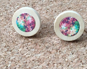 Multicoloured pattern | wooden cabochon earrings | 12mm inner wood bezel | stainless steel ear wire | Made in the UK | ready to ship
