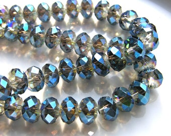 Metallic Blue 12mm Faceted Crystal Rondelle Beads    6