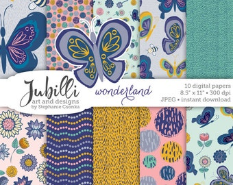Butterfly Digital Paper, 8.5x11 Digital Paper, Flower Digital, Bee Digital, Wonderland digital, Gardening digital, Sunflower digi, Handdrawn