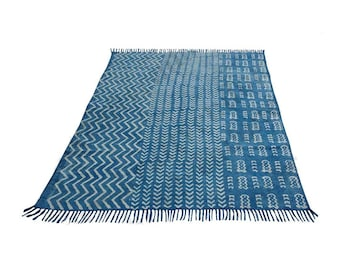 Handmade Indigo Area Rug Cotton Block Print Indigo Rug Natural Color Floor Rug Hand Loomed Rug