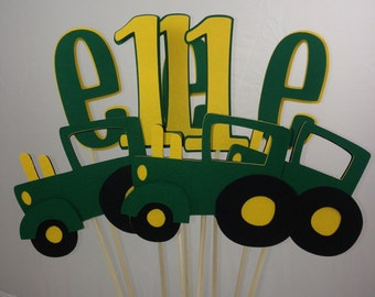 9 Piece Green and Yellow Tractor Table Decoration Centerpiece John Deere inspired Table Decorations Tractor Centerpiece