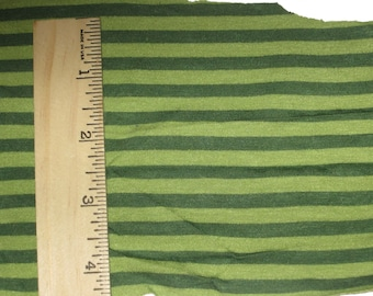 "Apx. 1/4"" tone on tone Dark Green & Lighter Green Stripe Knit FAbric"