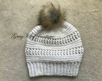 Ana Slouch with Faux Fur Pom - Winter Slouch with Faux Fur Pom- Slouch hat with Faux Fur Pom - Ready to ship Slouch Hat