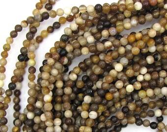 "4mm petrified wood agate round beads 15.5"" strand S3 39768"