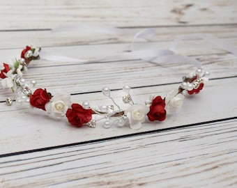 Handcrafted White and Red Pearl Crystal Flower Crown - Woodland Flower Crown - Red Bridal Halo - Flower Girl Crown -Red and White Bridesmaid