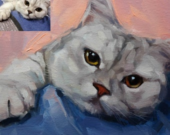 Custom Pet Portrait, Custom Cat Painting, Custom Cat Portraits, Pet Portrait, Animal Painting, Oil Painting, Original Art