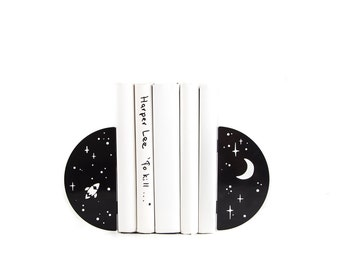 Metal Bookends Night Sky // Space and star theme nursery decor // Free Shipping