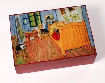 Large Keepsake Box, Cat Art, Cat Lover Gift, Van Gogh Bedroom, Memory Box, Jewelry Box, Large Keepsake Box, Deborah Julian