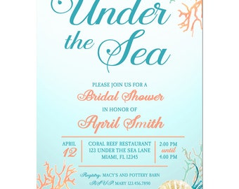 Under the sea prom etsy under the sea bridal shower invitation printable or printed with free shipping beach sea filmwisefo Images