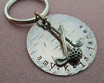 Golf Keychain - Personalized Hand Stamped Golf Keychain- Custom Man Dad Father Gift - Sport Keychain - Father's Day- K14