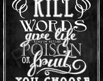 Scripture Chalkboard Art - Proverbs 18:21 (the Message)