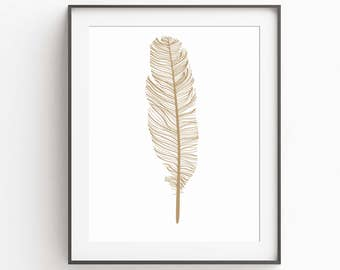 Gold Feather Wall Art - Gold Print Art - Wall Art - Printable Feather Art - Gold Art - Feather Print - Feather Art - Gold Tribal Wall Art