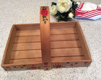 Vintage handmade Wood Basket Tray Caddy Tote