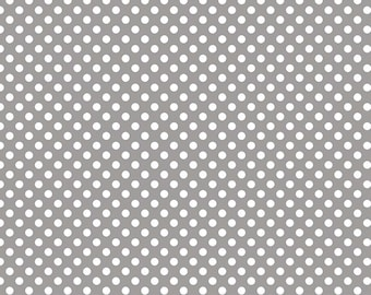 Riley Blake Small Dots, White on Gray, fabric by the yard