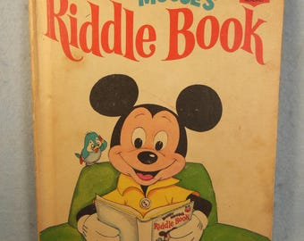 Vintage-Walt Disney Productions- Mickey Mouse-Riddle Book-Disneys Wonderful World Of Reading