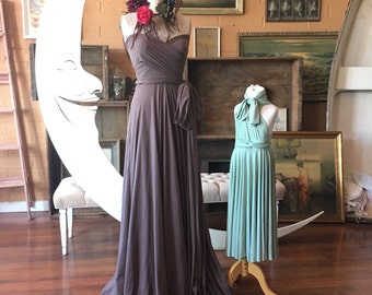 Driftwood Mocha over Castle Hill Coco Long Maxi- Octopus Infinity Wrap Dress. free Bandeau- Vintage Style, tea dyed look