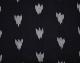 Black And Grey Ikat Fabric
