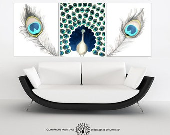 Peacock home decor + Swarovski®. Peacock painting. Peacock wall art. Teal art. Peacock blue. Peacock art. Peacock feather triptych Lydia Gee
