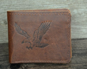 Leather Wallet Personalized Made of Cowskin Eagle