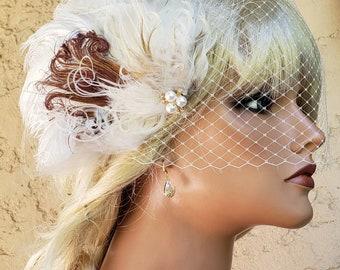 Flapper Headpiece,  Large Fascinator,  Bridal Feather Hairpiece,  Wedding Headpiece,  1920s Style Feather Hair Piece, Bandeau Veil, Coffee