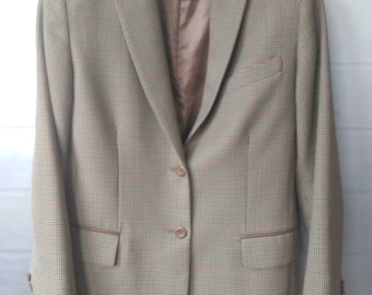 Vintage Wool Riding Jacket, 1990's Pendleton Jacket, Pure Virgin Wool Jacket, Leather Trim Wool Jacket