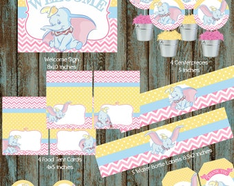 Dumbo Party Package, Disney Dumbo Package, Printable Dumbo Decorations, Dumbo Party Supplies, Dumbo Baby Shower, Dumbo Centerpieces, Dumbo