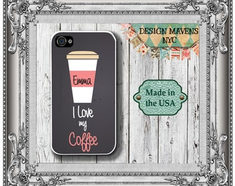 Coffee Love iPhone Case, Personalized Phone Case, Coffee Quote iPhone Case, iPhone 4, 4s, iPhone 5, 5s, 5c, iPhone 6, 6s, 6 Plus, Phone Case