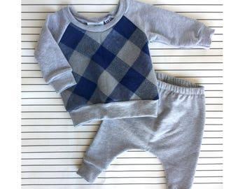 Grey/Blue Plaid Baby Harem Set