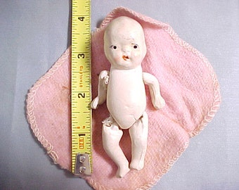 Vintage Japan Bisque Baby Doll, String Jointed Arms and Legs Circa 1920s Childrens Toy, Dollhouse Baby Doll