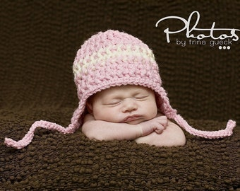 Photo Prop Baby Hat with Ear Flaps in Pink and Cream