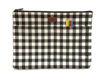 11 inch MacBook Air Sleeve, 11 inch MacBook Air Case, 11 inch MacBook Air Hard Case, 11 inch Laptop Sleeve,Laptop Case - Black & White Plaid