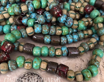 Gypsy Forest - Aged Striped 32/0 Czech Glass Rocaille Seed Bead Tube Mix - 25 pcs - 7.5mm Boho Earthy Opaque Matte - Central Coast Charms