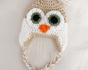 Crochet Owl Hat Pattern Newborn to 18 Months PDF